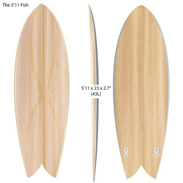 "CLASSIC FISH </br>[5'11 x 23""]</br>Laser Cut Wooden Surfboard Kit 1"