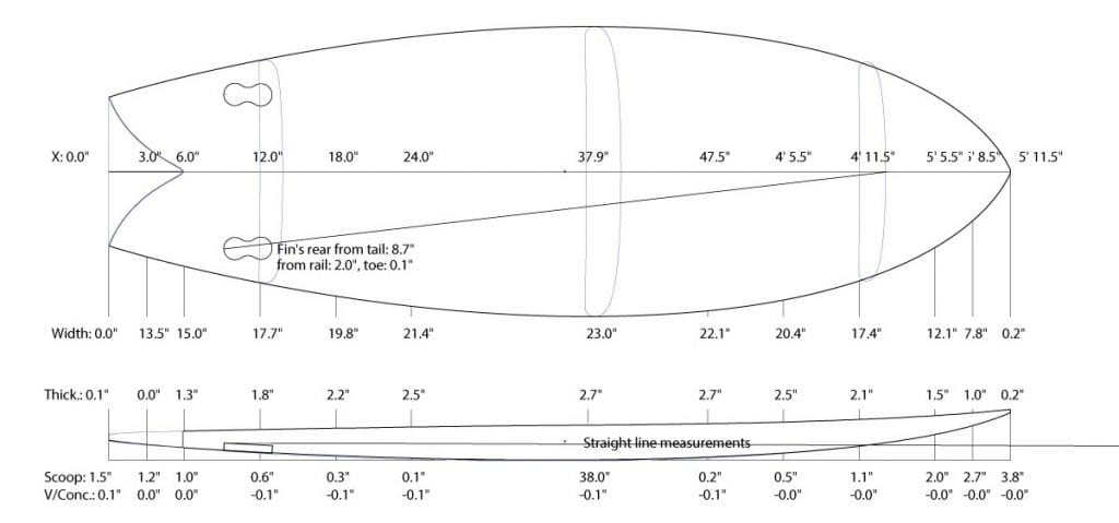 5'11 fish wooden surfboard kit