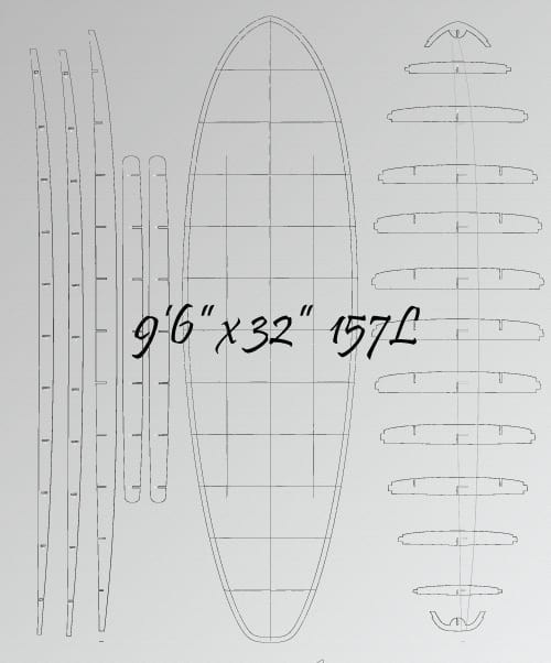 wooden SUP board Plans - template set