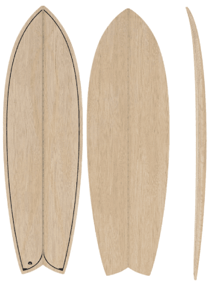 5'9 wooden fish surfboard kit